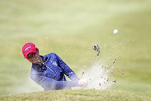 Lisa McCloskey (USA) plays out of green at 16th side bunker as seen during the practice round at the Curtis Cup Match at The Nairn Golf Club in Nairn, Nairnshire, Scotland on Thursday, June 7th, 2012.