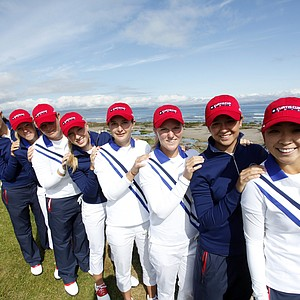 Team USA during a practice round at the Curtis Cup Match at The Nairn Golf Club in Nairn, Nairnshire, Scotland on Thursday, June 7th, 2012.