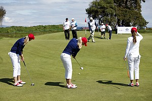 Amy Anderson (USA), Brooke Pancake (USA) and Austin Ernst (USA) as seen during the practice round at the Curtis Cup Match at The Nairn Golf Club in Nairn, Nairnshire, Scotland on Thursday, June 7th, 2012.