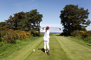 Austin Ernst (USA) tees off the 15th as seen during the practice round at the Curtis Cup Match at The Nairn Golf Club in Nairn, Nairnshire, Scotland on Thursday, June 7th, 2012.