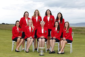 Back Row: Erica Popson (USA), Amy Anderson (USA), Emily Tubert (USA), Tiffany Lua (USA), Front Row: Lisa McCloskey (USA), Brooke Pancake (USA), Patricia Cornett (USA), Lindy Duncan (USA), Austin Ernst (USA) as seen during the Opening Ceremony at the Curtis Cup Match at The Nairn Golf Club in Nairn, Nairnshire, Scotland on Thursday, June 7th, 2012.