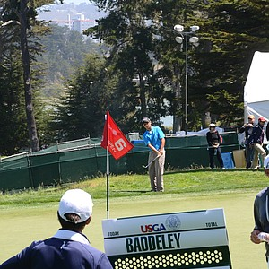 Andy Zhang, 14, hits practice shots at the par-4 6th hole during his practice round on Tuesday at the Olympic Club.