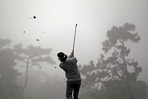 Bubba Watson hits a shot on the second hole during a practice round for the U.S. Open Championship golf tournament Wednesday, June 13, 2012, at The Olympic Club in San Francisco.