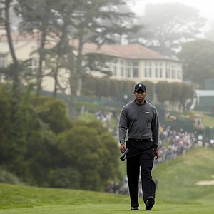Tiger Woods makes his way to the 18th tee during a practice round for the U.S. Open Championship golf tournament Wednesday, June 13, 2012, at The Olympic Club in San Francisco.