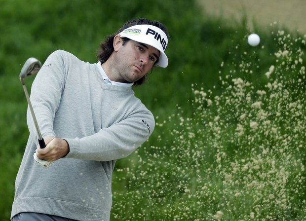 Bubba Watson hits out of a bunker on the second hole during a practice round for the U.S. Open Championship golf tournament Wednesday, June 13, 2012, at The Olympic Club in San Francisco.