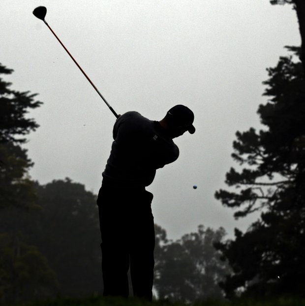 Tiger Woods hits a drive on the 12th hole during a practice round for the U.S. Open Championship golf tournament Wednesday, June 13, 2012, at The Olympic Club in San Francisco.