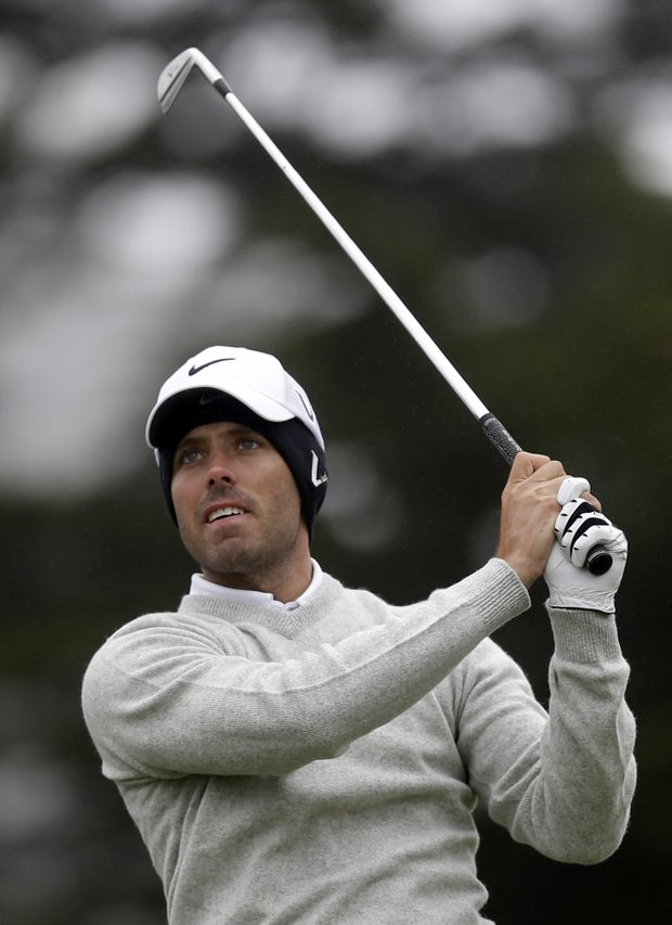 Charl Schwartzel, of South Africa, watches his drive on the third hole during a practice round for the U.S. Open Championship golf tournament Wednesday, June 13, 2012, at The Olympic Club in San Francisco.
