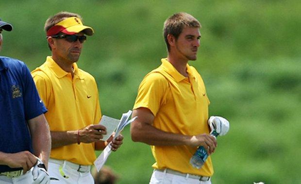 Josh Brewer (left) with former USC player T.J. Vogel.