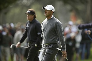 Phil Mickelson and Tiger Woods during the first round of the U.S. Open Championship golf tournament Thursday, June 14, 2012, at The Olympic Club in San Francisco.
