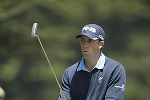Michael Thompson reacts after missing a birdie putt on the 17th hole during the first round of the U.S. Open Championship golf tournament Thursday, June 14, 2012, at The Olympic Club in San Francisco.