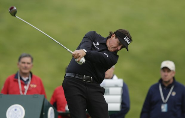 Phil Mickelson hits a drive on the ninth hole during the first round of the U.S. Open Championship golf tournament Thursday, June 14, 2012, at The Olympic Club in San Francisco.