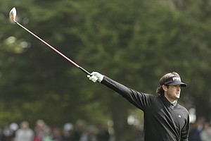 Bubba Watson reacts to his drive on the 16th hole during the first round of the U.S. Open Championship golf tournament Thursday, June 14, 2012, at The Olympic Club in San Francisco.