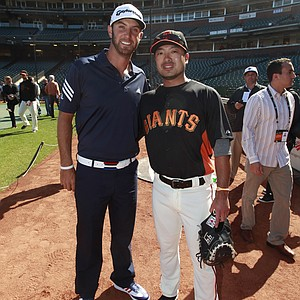 Photo from Dustin Johnson's visit to AT&T Park on June 13.
