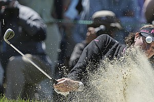 Bubba Watson hits out of a bunker on the fifth hole during the second round of the U.S. Open Championship golf tournament Friday, June 15, 2012, at The Olympic Club in San Francisco.