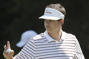 Amateur Beau Hossler waves after making a birdie on the first hole during the second round of the U.S. Open Championship golf tournament Friday, June 15, 2012, at The Olympic Club in San Francisco.