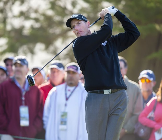 Jim Furyk tees off during the second round of the 112th US Open at the Olympic Club.
