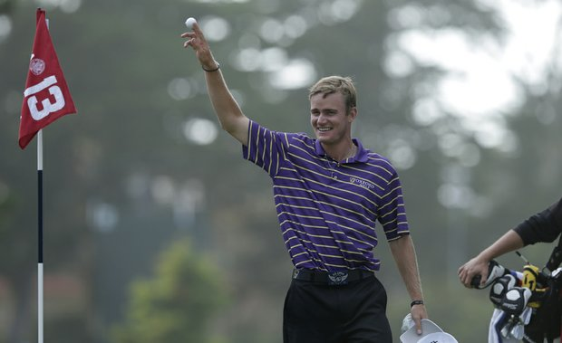 John Peterson reacts to an ace at Olympic Club's 13th.