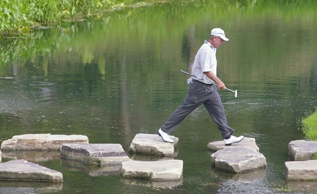 Graham Marsh makes his way to the 17th green during the first round of the 2002 Champions Tour's Allianz Championship at Glen Oaks Country Club in West Des Moines, Iowa.