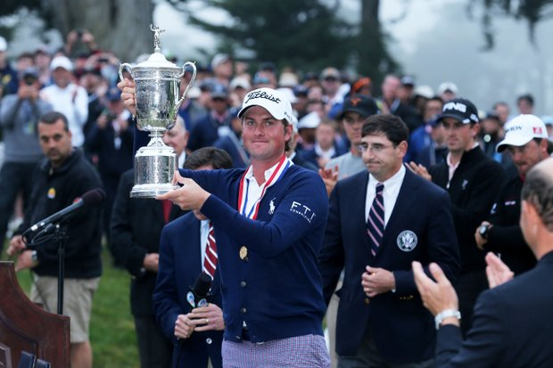 Webb Simpson birdied four holes in the middle of his final round to catapult into the lead and held on to win the U.S. Open at Olympic Club in San Francisco.