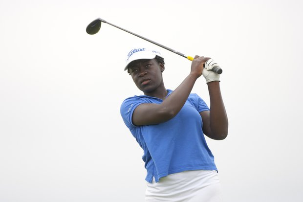 Lakareber Abe plays a shot from the 10th tee as seen during the second round of stroke play at the 2012 U.S. Women's Public Links at Neshanic Valley Golf Course in Neshanic Station, N.J. on Tuesday, June 19, 2012.