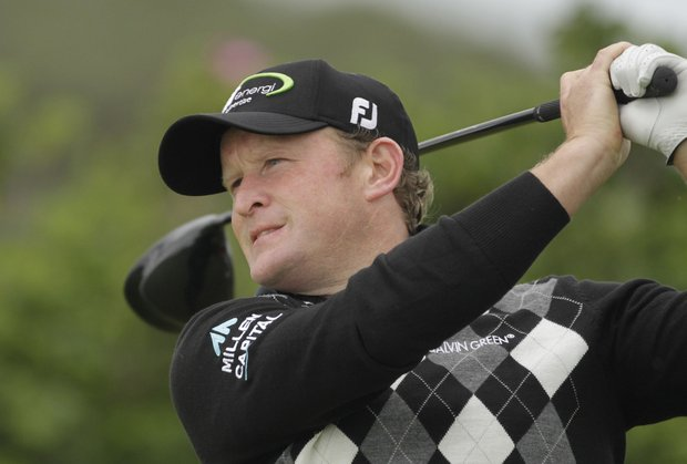 Jamie Donaldson from Wales tees off on the 15th hole during day three of the Irish Open.