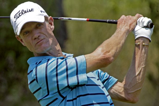 Joe Daley hits his tee shot on the seventh hole of the final round at the Senior Players Championship.