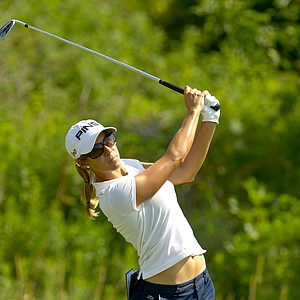 Azahara Munoz plays her tee shot on the sixth hole during the first round at the 2012 U.S. Women's Open at Blackwolf Run in Kohler, Wis. on Thursday, July 5, 2012.