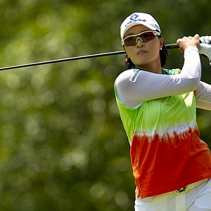 Se Ri Pak watches her tee shot on the ninth hole during the first round at the 2012 U.S. Women's Open at Blackwolf Run in Kohler, Wis. on Thursday, July 5, 2012.