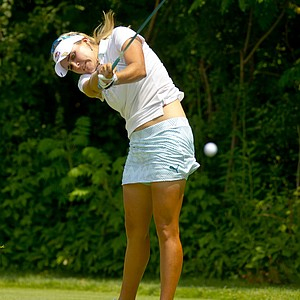 Lexi Thompson plays her tee shot on the 14th hole during the first round at the 2012 U.S. Women's Open at Blackwolf Run in Kohler, Wis. on Thursday, July 5, 2012.