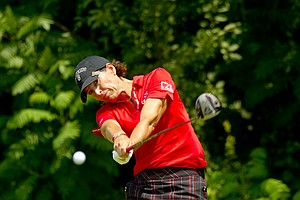 Juli Inkster plays her tee shot on the 14th hole during the first round at the 2012 U.S. Women's Open at Blackwolf Run in Kohler, Wis. on Thursday, July 5, 2012.