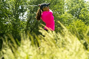 Cheyenne Woods watches her tee shot on the 17th hole during the first round at the 2012 U.S. Women's Open at Blackwolf Run in Kohler, Wis. on Thursday, July 5, 2012.