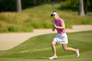 Morgan Pressel reacts to her missed birdie putt on the 12th hole during the first round at the 2012 U.S. Women's Open at Blackwolf Run in Kohler, Wis. on Thursday, July 5, 2012.