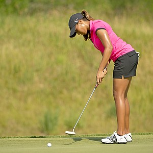 Cheyenne Woods watches her missed birdie putt on the 12th hole during the first round at the 2012 U.S. Women's Open at Blackwolf Run in Kohler, Wis. on Thursday, July 5, 2012.