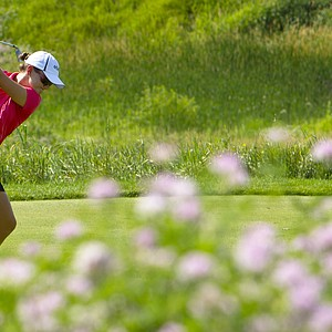 Cindy LaCrosse plays her tee shot on the sixth hole during the first round at the 2012 U.S. Women's Open at Blackwolf Run in Kohler, Wis. on Thursday, July 5, 2012.