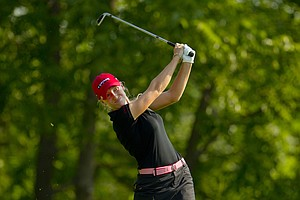 Brooke Pancake plays her tee shot on the sixth hole during the second round at the 2012 U.S. Women's Open at Blackwolf Run in Kohler, Wis. on Friday, July 6, 2012.