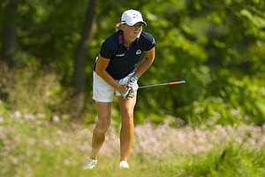 Stacy Lewis plays her tee shot on the sixth hole during the second round at the 2012 U.S. Women's Open at Blackwolf Run in Kohler, Wis. on Friday, July 6, 2012.