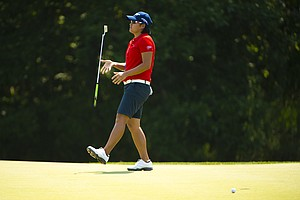Yani Tseng reacts to a missed putt on the 16th hole during the second round at the 2012 U.S. Women's Open at Blackwolf Run in Kohler, Wis. on Friday, July 6, 2012.