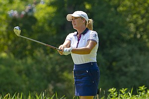 Cristie Kerr watches her tee shot on the ninth hole during the second round at the 2012 U.S. Women's Open at Blackwolf Run in Kohler, Wis. on Friday, July 6, 2012.