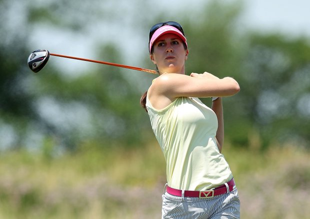 Sandra Gal watches her tee shot on the third hole during the final round of the 2012 U.S. Women's Open.