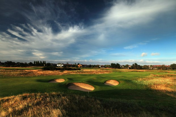 The approach to the green on the par-4 15th hole at Royal Lytham and St. Annes Golf Club.