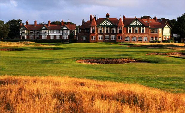 The par-4 18th hole, measuring 410 yards, at Royal Lytham and St. Annes Golf Club.