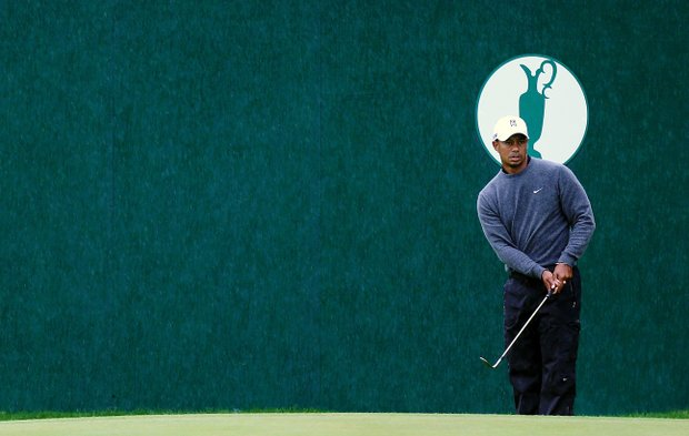 Tiger Woods watches a pitch shot during the first practice round prior to the start of the 141st Open Championship at Royal Lytham & St Annes.