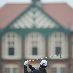 Rory McIlroy watches a shot during the second practice round prior to the start of the 141st Open Championship at Royal Lytham & St. Annes.