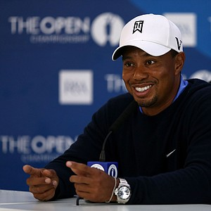 Tiger Woods speaks with the media after his second practice round prior to the start of the 141st Open Championship at Royal Lytham & St. Annes.