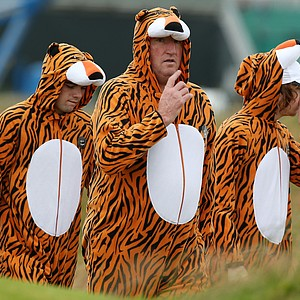 Tiger Woods fans follow the play during the second practice round prior to the start of the 141st Open Championship at Royal Lytham & St. Annes on July 17, 2012 in Lytham St Annes, England.