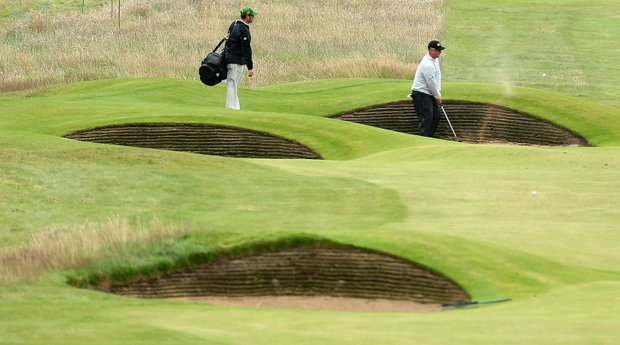 David Duval plays a shot during the second practice round prior to the start of the 141st Open Championship at Royal Lytham & St. Annes.