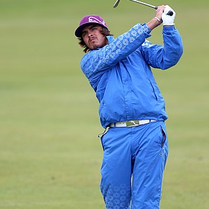 Rickie Fowler hits an approach shot during the second practice round prior to the start of the 141st Open Championship at Royal Lytham & St. Annes.