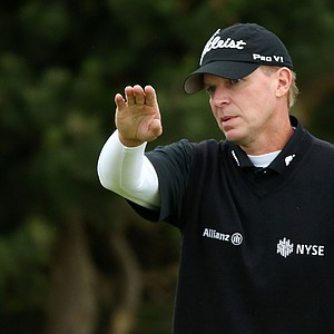 Steve Stricker gestures during the second practice round prior to the start of the 141st Open Championship at Royal Lytham & St. Annes.