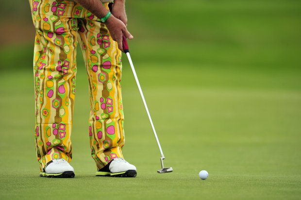 John Daly putts on the 5th green during a practice round for the 2012 Open Championship at Royal Lytham & St. Annes.