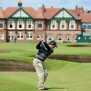 Francesco Molinari plays an approach shot at the 18th during the third practice round prior to the start of the 141st Open Championship at Royal Lytham & St. Annes.